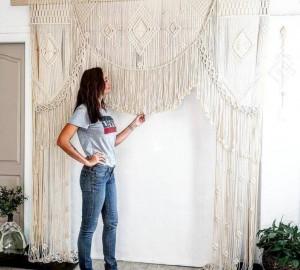 Unique Handmade Macrame Large Curtain Bohemian Boho Decoration Backdrop Wedding Wall Hanging KBA_12